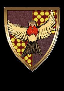 Escudo de la casa rojo con pájaro jugando.