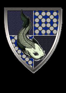 Escudo de casa azul con pez de l ría.