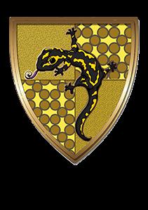 Escudo de la casa amarilla con salamandra mágica.