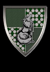 Escudo de la casa verde con lobo de Bilbao.